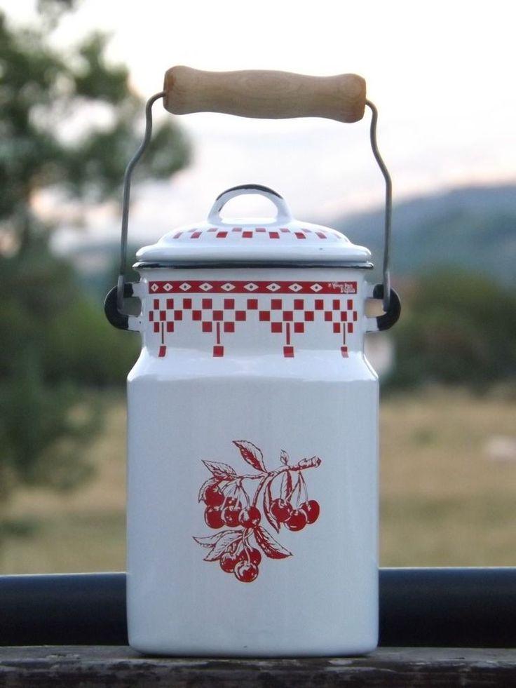 Vintage French Enamelware Enamel Milk Jar Pot Canister Comptoir de Famille