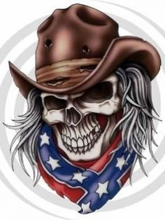 skulls cowboy southern rebel flag tattoo art redneck rebel flags rebel ...