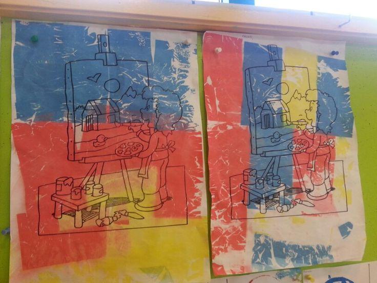 Kleurplaat met zijdevloei en water. Vloeipapier daarna eraf halen.