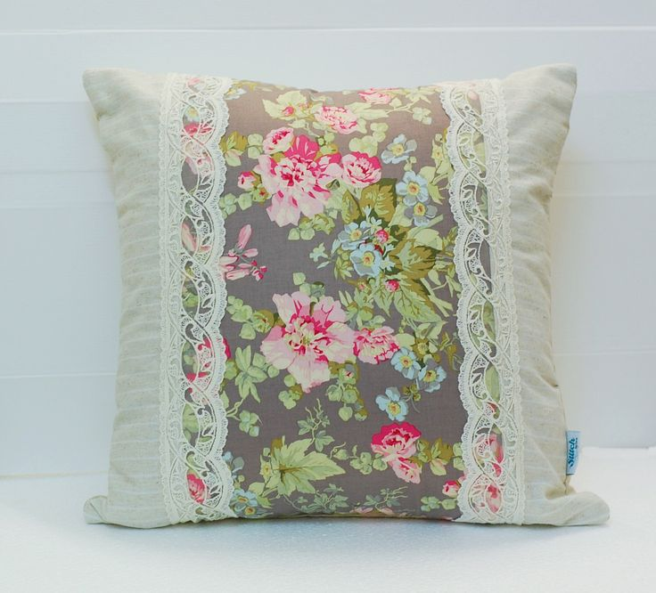 Linen and Lace Patchwork Pillow Cover, Shabby Chic Pillow Cover, Quilted Cushion Cover, Quilted Pillow, Fits 18 inch insert_ 18 x 18 by stitchbyzura on Etsy https://www.etsy.com/listing/261170539/linen-and-lace-patchwork-pillow-cover