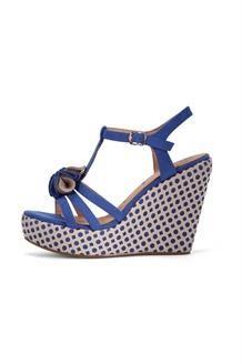 Sandálias de cunha<BR>Azul