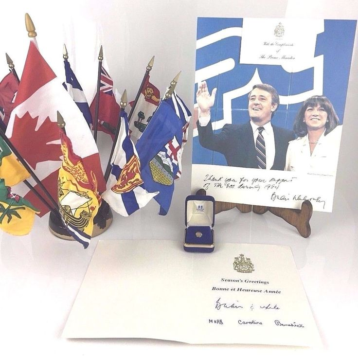 Brian Mulroney 18th Prime Minister Signed Autograph Card Flag The 500 1984 NAFTA