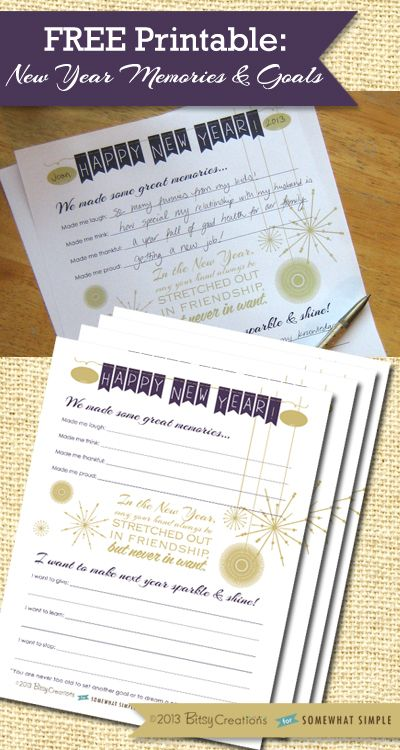 Free New Year Memories and Resolutions Printable