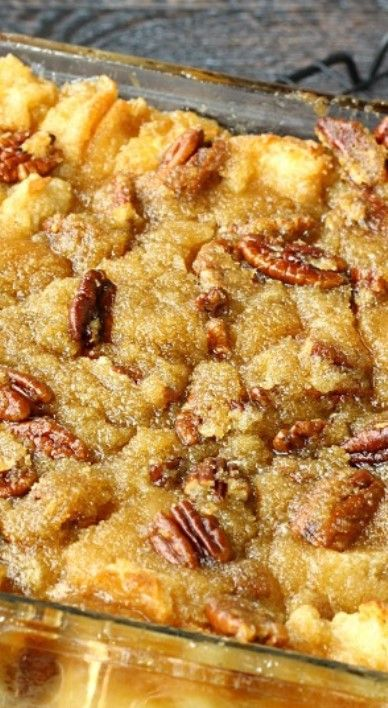 Pecan Pie Bread Pudding ~ It is actually Pecan Pie without the crust. Instead it's poured over a delicious bread pudding and baked to perfection... It's Pecan Pie infused heaven!!