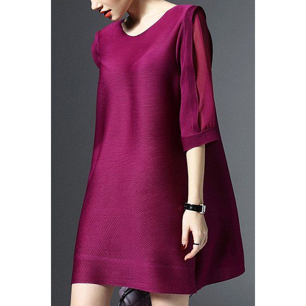 $20.84 Elegant Round Neck 3/4 Sleeves See-Through Solid Color Women's Dress