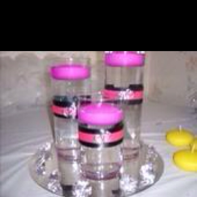 Pink and black wedding centerpiece pinterest