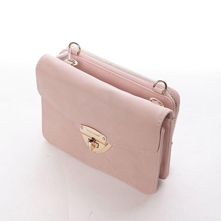 Růžové luxusní crossbody s oddělenou peněženkou.  #růžová #kabelka #dámy #styl #móda #pláž #ženy #dárky