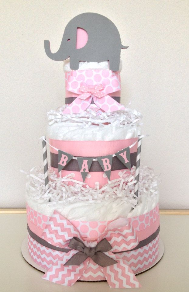 Chevron Pink and Gray Lil' Peanut Elephant Diaper Cake Baby Shower Centerpiece - http://www.babyshower-decorations.com/chevron-pink-and-gray-lil-peanut-elephant-diaper-cake-baby-shower-centerpiece.html