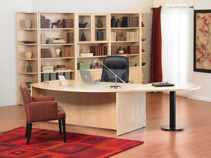 white themed cool home office design with neutral beige wood office desk on the wood flooring
