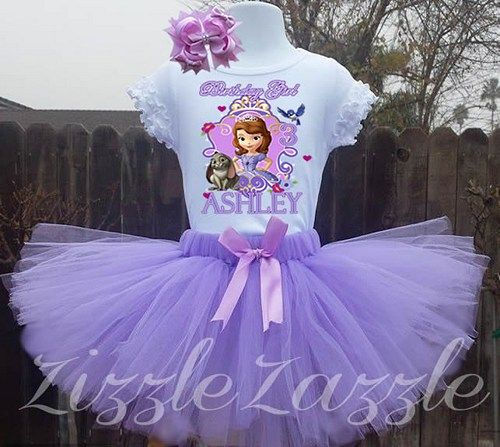 Sofia the First Sophia Princess 1st purple Girl Birthday Custom Personalized tutu skirt Birthday custom outfit Name Age Tutu Outfit Skirt bow Purchasing Instructions: 1) Select size in the drop do