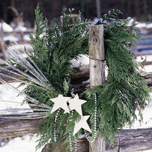 Make a Wish Wreath: http://www.midwestliving.com/homes/seasonal-decorating/beautiful-holiday-wreaths/page/31/0Stars Wreaths, Christmas Wreaths, Holiday Wreaths, Silver Stars, Country Christmas, Fence Post, Rustic Christmas, Christmas Decor, Winter Wreaths