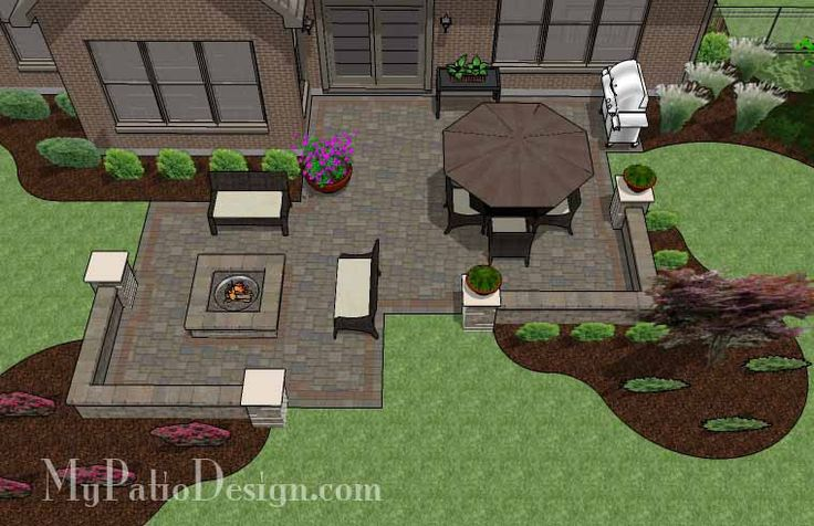 """535 sq. ft. of Outdoor Living Space. Areas for Large Patio Table and Portable Fire Pit. 24"""" Tall Seating Walls with Columns. Built-in 56"""" Square Fire Pit."""