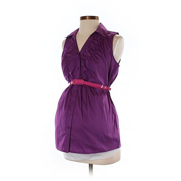 Pre-owned Motherhood Sleeveless Button Down Shirt Size 4: Purple... ($15) ❤ liked on Polyvore featuring tops, purple, sleeveless button down shirt, purple button down shirt, purple shirt, purple sleeveless top and sleeveless shirts