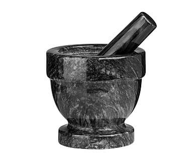 Mortero con maja en mármol I - negro