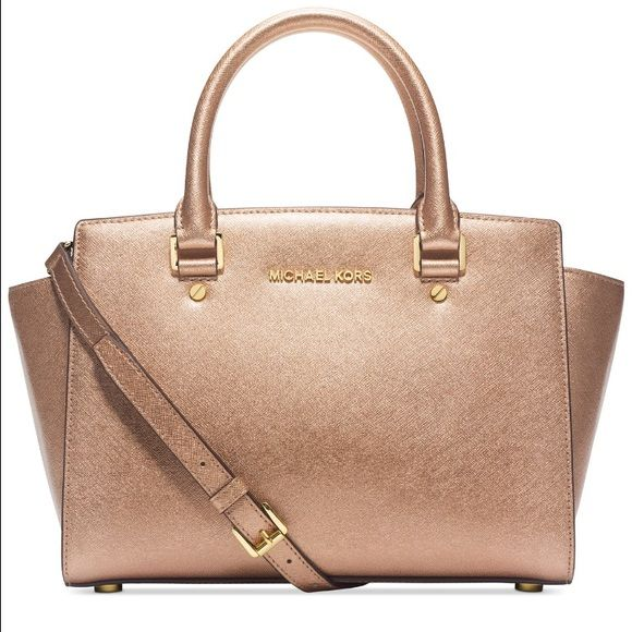 BNWT- Michael Kors Selma Medium Satchel BNWT- Michael Kors Selma Medium Satchel. Bag includes dust bag. Full description listed above. Color is pale gold Michael Kors Bags Satchels