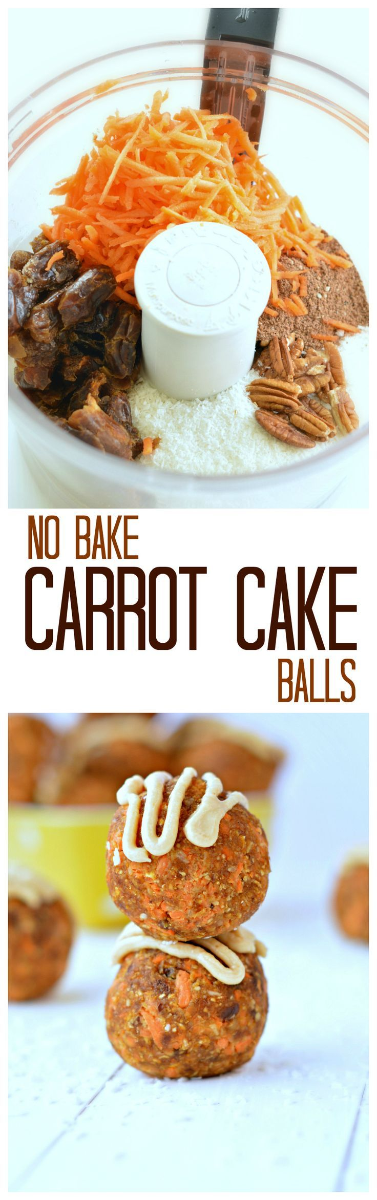 "A 3-minute NO-Bake Carrot 'Cake' protein Ball; coconut, almond, pecans, oats, carrots. ""Boosted in protein and perfect as a recovery food after gym"""