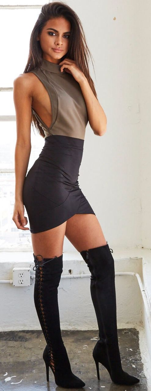 """all-n-all: """"suki2links: """"loverofgorgeous: """" From: Lover Of Gorgeous """" I ❤️ her tight mini dress and knee high boots, she has beautiful legs """" Lord """""""