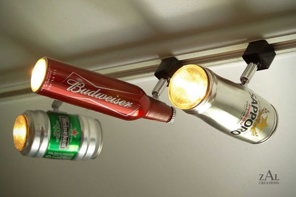 Recycled Beer Can Track Lighting. With a little imagination and creativity, you can use beer can to create surprisingly interesting Beer Can Track Lighting. http://hative.com/cool-basement-lighting-ideas/