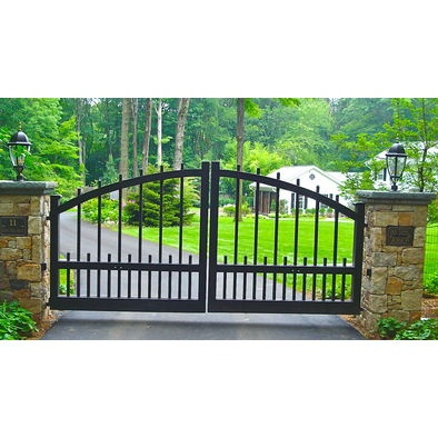 What would you think about a driveway gate? Then you could have a cool personal gate beside it.