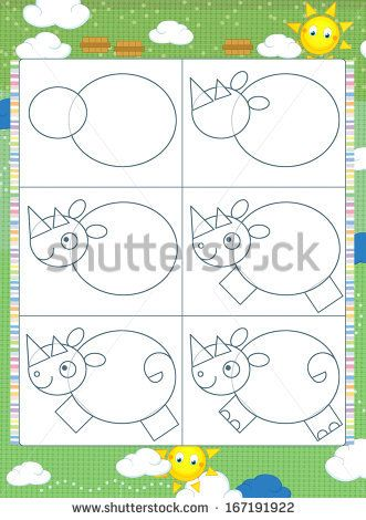 Learning to draw - illustration for the children - stock photo