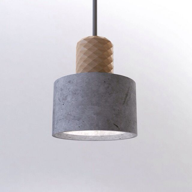 Concrete wood pendant lamp. The socket is made from a cnc milling of ash wood with a very high level of detail. The shade is a grey concrete cilinder with beveled edges and it comes with a matching light grey fabric cord. It will be available in different sizes, stay tuned! :)