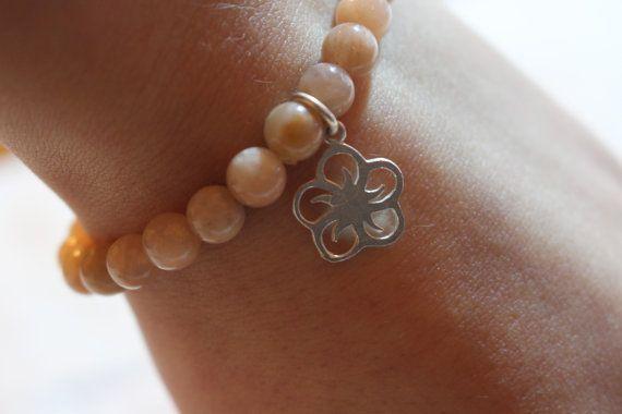 Sunstone Beaded Bracelet for Women Gemstone by MoniqueUniquely