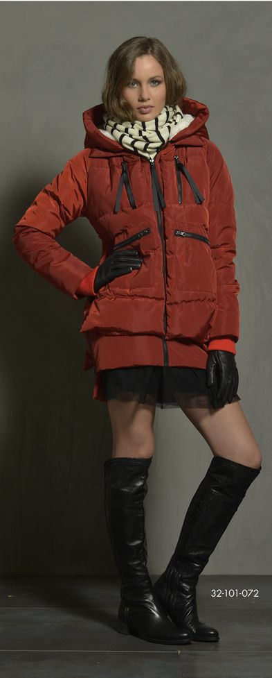 Ladies' puffy jacket with hood, boa fur quality inner hood side & rib on sleeve cuff. www.biston.gr