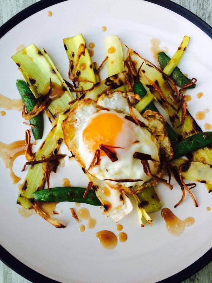 Grilled Leeks and Crispy Fried Egg brunch