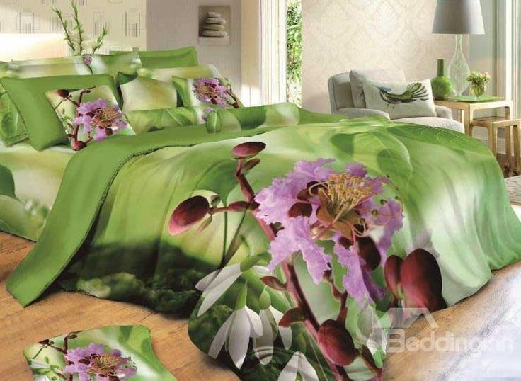 New Arrival Lovely Flowers Print 4 Piece Green Bedding Sets  @bedding inn