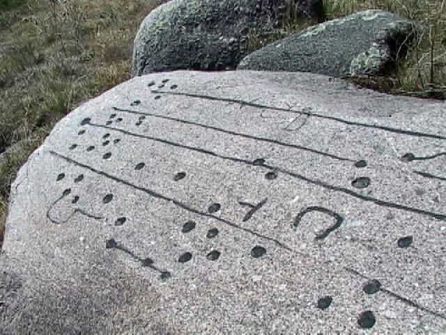 """""""Writing Rock at Fort Ransom, ND. So far, no one has been able to decipher the language. This rock is very near """"Mooring Hole Pond"""" and the Fort Ransom Pyramid. The rock is featured in Seafaring Strangers: Vikings in America"""""""