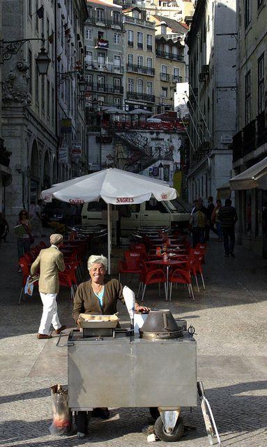 Vendor Smiles  and chestnuts, Lisboa  Portugal