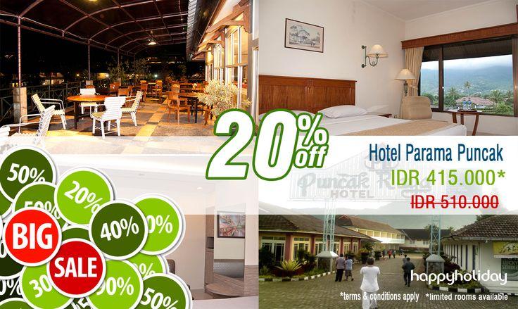 Liburan ke puncak jauh lebih menyenangkan dengan promo hemat dari PARAMA HOTEL   http://www.happyholiday.travel/hotel/view/hotel-parama-puncak-1069  *harga sudah termasuk pajak hotel & biaya layanan