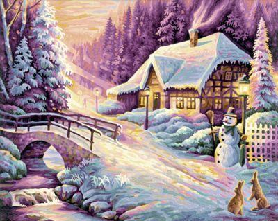 Der Winter Schipper Malen nach Zahlen 40 x 50 cm