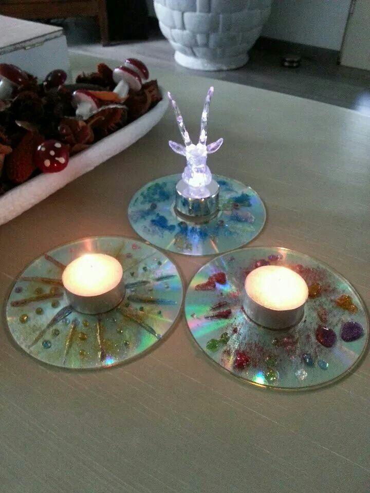Waxinelichtje met houder (cd zelf versieren)
