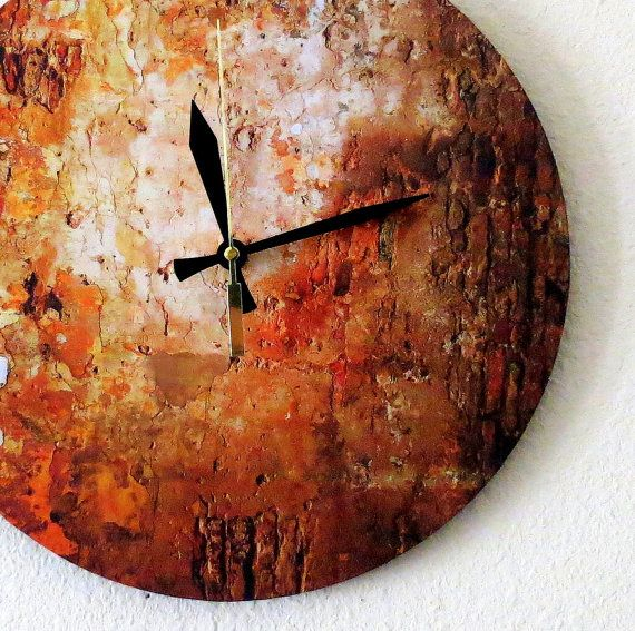 Rustic Wall Clock Autumn Copper Decor Home and by Shannybeebo