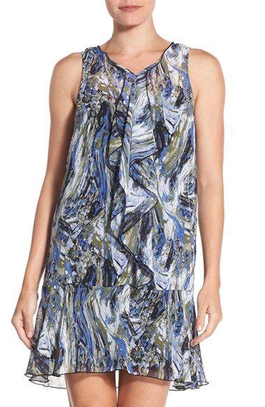 kensie 'Marble Swirl' Print Chiffon Drop Waist Dress