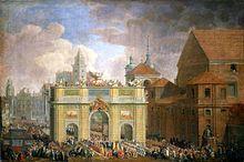 Triumfalny wjazd Augusta III do Warszawy przez Łuk triumfalny na Krakowskim przedmieściu w 1734. Po prawej widoczny Kościół św. Anny, w dali wieża Sobieskiego i zamek królewski