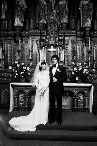 Actress Talia Shire and Actor Sylvester Stallone get married in the movie Rocky II (1979)