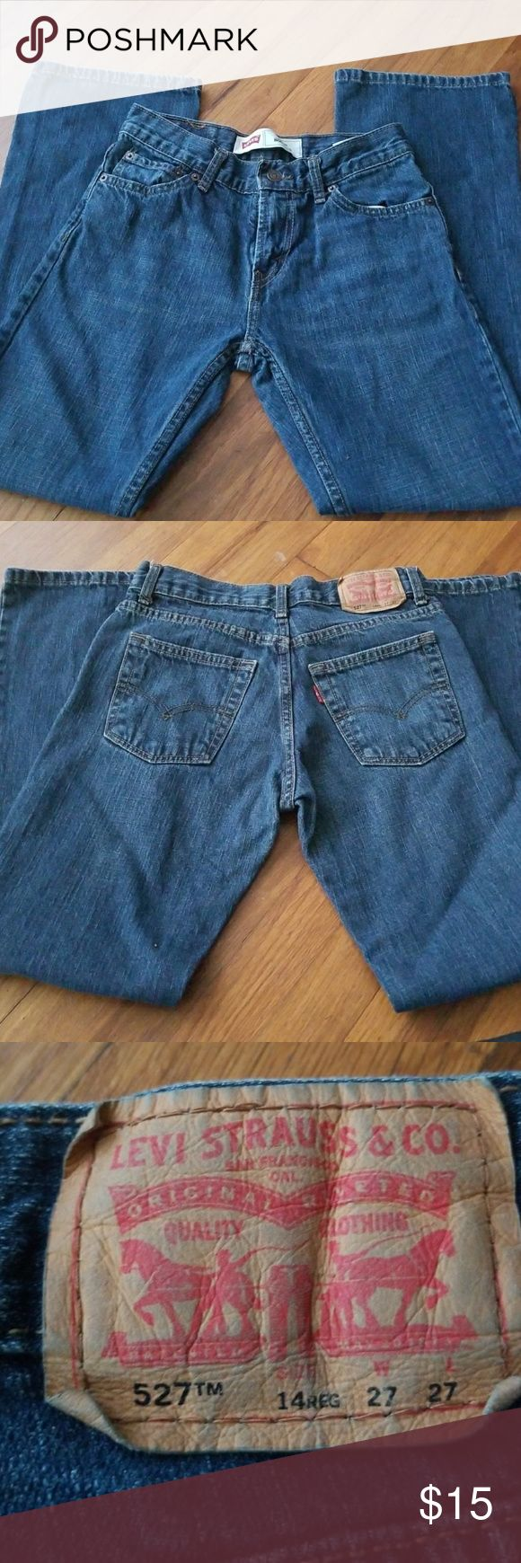 Levi' s Boy's or Teen jeans Levi's 527 jeans. Size 14 regular or 27x27. Older boy or Teen jeans. In very gently used condition. My son grew 3 inches in 2 months, and I don't think he ever actually wore these. They DO NOT have an adjustable waist. No holes, tears, stains, etc.  Need more jeans in this size? I have others listed and will make you an AWESOME deal for more than one pair! Kust bundle the pairs you want and I will send you a private discounted offer! Levi's Bottoms Jeans