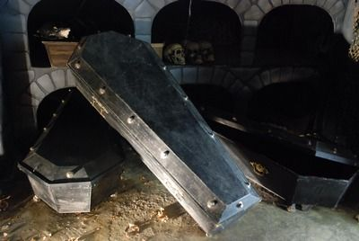 Coffin, Black, with ironwork