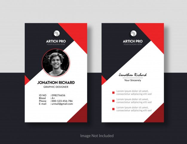 Id Card Design Premium Vector Free Vector Freepik Vector Freebusiness Fr Identity Card Design Business Card Design Creative Free Printable Business Cards
