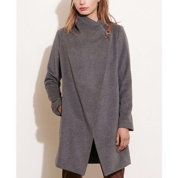 Lauren Ralph Lauren Draped Open-Front Coat (1,295 ILS) ❤ liked on Polyvore featuring outerwear, coats, grey, lauren ralph lauren coats, gray coat, lauren ralph lauren, drape coat and funnel-neck coats
