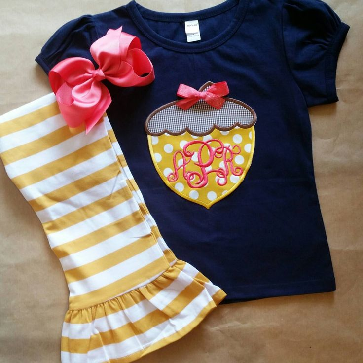 Fall outfit , girls thanksgiving outfit , mustard and navy , acorn appliqué , fall festival , Thanksgiving outfit , Halloween outfit by ThePreppyPepper on Etsy https://www.etsy.com/listing/246499659/fall-outfit-girls-thanksgiving-outfit