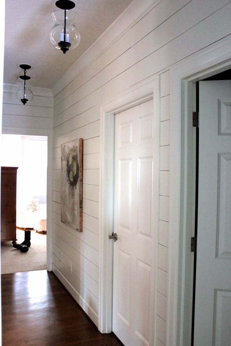 forever*cottage: Planked Wall Hallways Gets *NEW* Light Fixtures! like the plank wall with crown molding