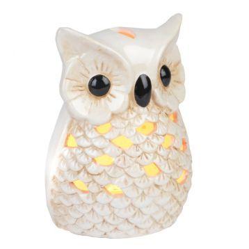 Ceramic Cream Owl Night Light | Kirkland's