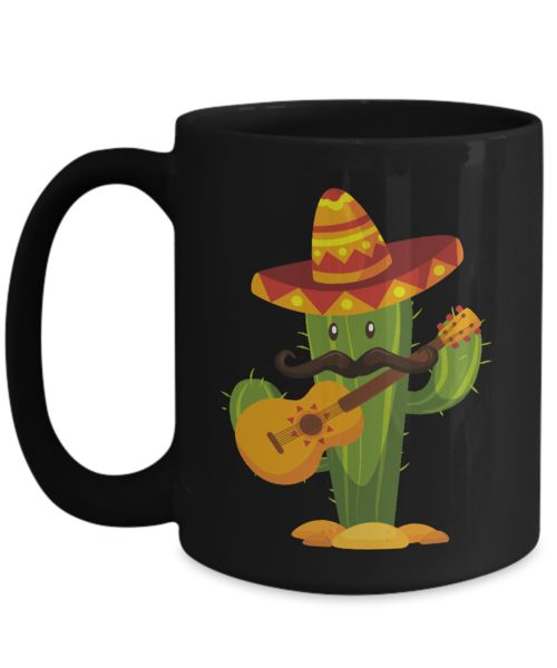 Shirt White Sombrero Mexican Mustache Cactus Cinco De Mayo Coffee Mug 15oz Black