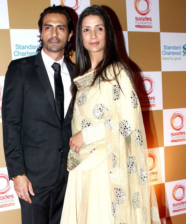 Arjun Rampal with wife Mehr Jessia Rampal at a fund raising event hosted by Swades Foundation. #Style #Bollywood #Fashion #Beauty