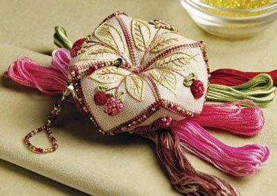 Love this!! 2008's grand-prize winner: Raspberry Truffle Tuffet by Sharlotte DeVere, Leechburg, PA. Cross-stitched, beaded, embroidered. Cotton and silk floss, beads, linen/cotton fabric.