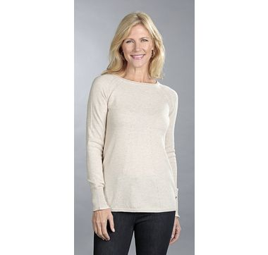 Andrè Maurice 100% Cashmere Round Neck Hi-Lo Tunic with Pointelle Detail & Pleat Back