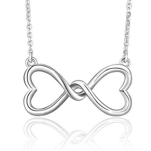 """925 Sterling Silver Infinity Love Heart Pendant Necklace, Rolo Chain 18"""". Sterling silver necklace featuring pendant decorated with elaborate infinity love knot design. Great gifts for lover, wife, girlfriend, mother, friends. Well celebration presents on wedding anniversary, birthday, Valentine's Day or Christmas. Pendant Size: 0.98*0.47inches; Chain Width: 1.2mm; Weight: 2.58g. Nickel-free, Lead-free, Cadmium-free and Hypoallergenic, Long Time Wearing Keeps You a Good Health. Arrive in a…"""